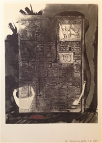 collage with stick figures-journal au profil by pablo picasso