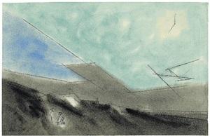 drei figuren in dünenlandschaft by lyonel feininger
