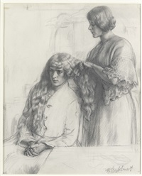deux landaises by gerald leslie brockhurst