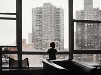 usa. brooklyn, ny. 2009. atlas watches the rain. by christopher anderson
