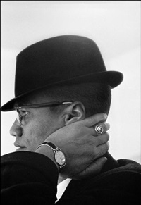 usa. illinois. chicago. malcolm x during his visit to entersprises owned by black muslims. 1962. by eve arnold