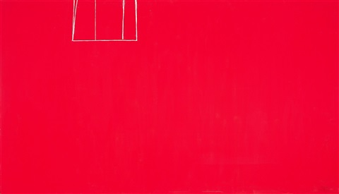 open no 153 in scarlet with white line by robert motherwell