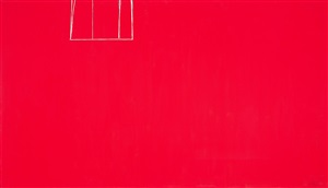 open no. 153: in scarlet with white line by robert motherwell