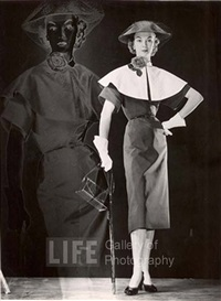 positive and negative image of model with black dress with cape collar, veiled straw hat, carrying handbag and umbrella by gjon mili