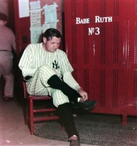 babe ruth in locker room by ralph morse