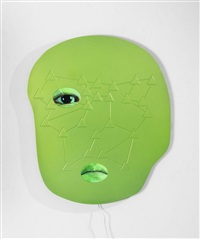 not yet titled (metal wall mounted panel 3/9) by tony oursler