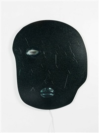 not yet titled (metal wall mounted panel 5/9) by tony oursler