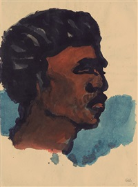 bildnis eines südsee-insulaners im profil nach rechts (image of a southsea islander, profile to the right) by emil nolde