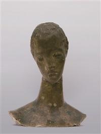 mädchenkopf auf schlankem hals, kopf der großen sinnenden / girl's head on slender neck, large contemplative head by wilhelm lehmbruck