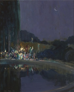 a night time festival procession beside a lake by cyrus cincinatto cuneo