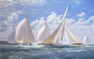 'yankee' leads the fleet, 'astra' wins on handicap – silver jubilee cup, cowes 1935 by john steven dews