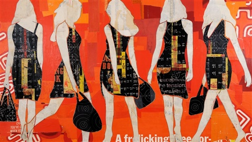 walking girls orange by jane maxwell