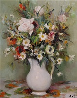 still life of flowers by marcel dyf