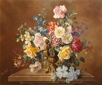 flowers in a bronze vase by harold clayton