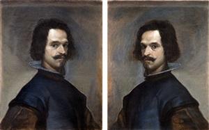 self- portrait as twins (after velazquez) by matthew hansel