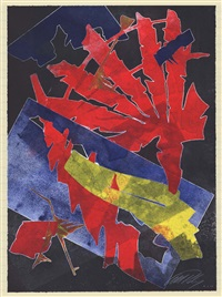 burning bones texas monoprint #4 by albert paley