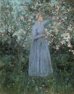 woman in a garden by george hitchcock