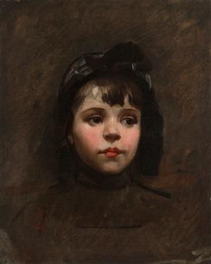 portrait of a little girl by frank duveneck