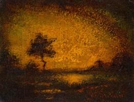 solitary tree at sunset by ralph albert blakelock