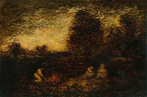 indian encampment/three figures, campfire, and tents by ralph albert blakelock