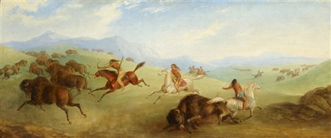 indian buffalo hunt 1 by karl bodmer