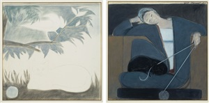study for woman cat and yarn/untitled, study with cat, bird and ball by will barnet