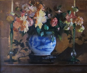 roses in a blue vase by edmund charles tarbell