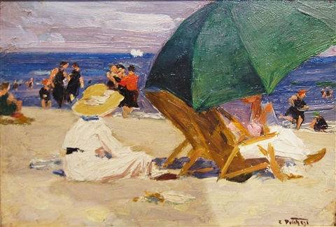 the green umbrella by edward henry potthast
