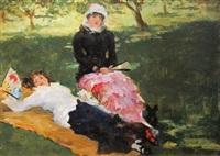 ladies on the lawn by james carroll beckwith