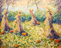 pumpkins and cornshocks, giverny by theodore earl butler