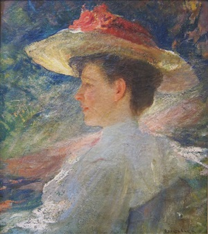 woman in a white hat by isaac calega