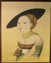 woman with hat by paul wunderlich