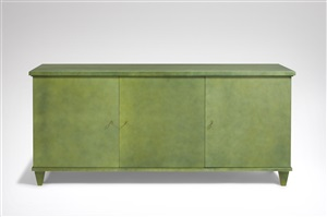 commode en laque verte / a green lacquered and solid oak chest of drawers by andré arbus