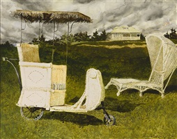 a couple of chairs sitting around the coast of maine by jamie wyeth
