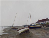 boats at low tide, burnham overy staithe by marc dalessio