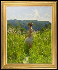 a young lady in a summer meadow by marc dalessio