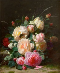 a still life with roses by jean-baptiste robie
