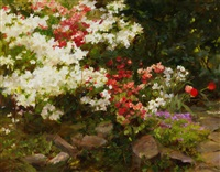 spring garden with azalea by kathy anderson