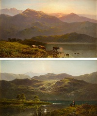 """sunset near duncraggan"" & ""morning, loch vannachar"" by alfred de breanski sr"