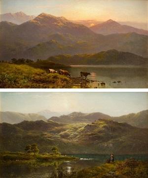 """""""sunset near duncraggan"""" & """"morning, loch vannachar"""" by alfred de breanski sr"""