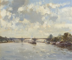 the bridge at saint ouen by edward seago