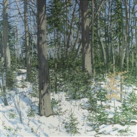 study for little spruce by neil welliver