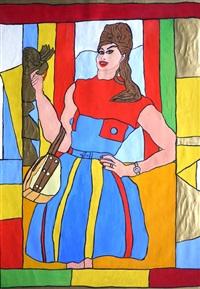 """frau in rotblauem kleid mit """"taschenklappen', 'model """"lulu"""". im hintergrund ein putto als dekorationsfigur by josef wittlich"""