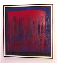 red/blue berlin waterfall by pat steir