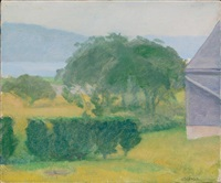 landscape with corner of building by lennart anderson