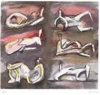 six reclining figures with red background by henry moore