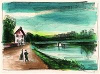 le pont sur l'oise à méry (ii) by maurice de vlaminck