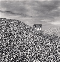 pebbles and beach house, cayeux-sur-mer, picardie, france, 2009 by michael kenna