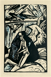 kniende am stein by erich heckel