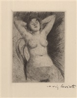 weiblicher akt auf einem stuhl by lovis corinth